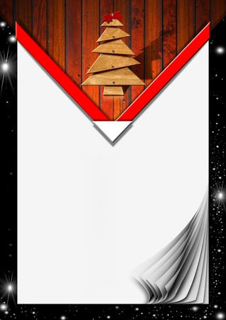 Background for Christmas menu with wooden tree with screws and red comet photo