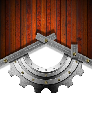 adjusted: Wood Background and metal gray meter tool forming a house with gear Stock Photo