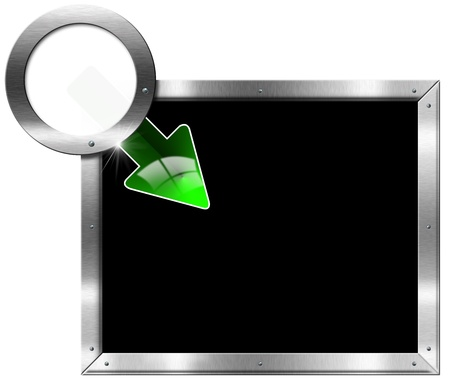 Metallic billboard with rectangular and round frame and green arrow photo