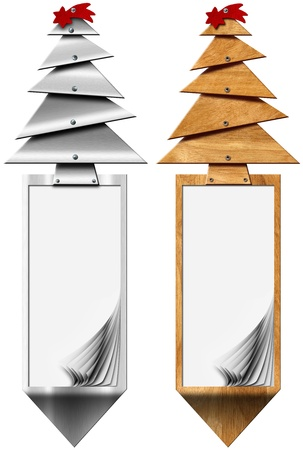 Two vertical Xmas banners with stylized Christmas tree and blank pages on white background photo