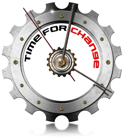 Metal clock gear-shaped with written time for change on a white background  photo
