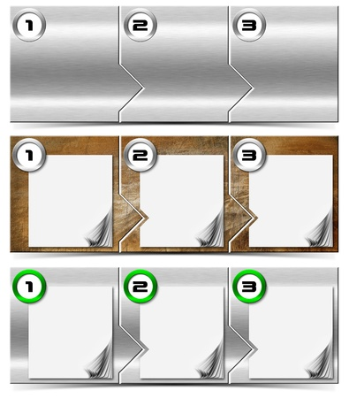 numbering: Three horizontal metallic banners or headers with three steps box and numbering Stock Photo