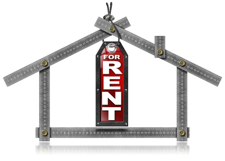 Metallic gray meter tool forming a house and hanging tag with written 'for rent'   photo
