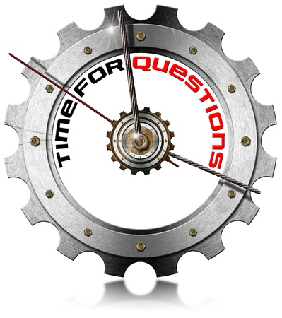 Metal clock gear-shaped with written time for questions on a white background Stock Photo