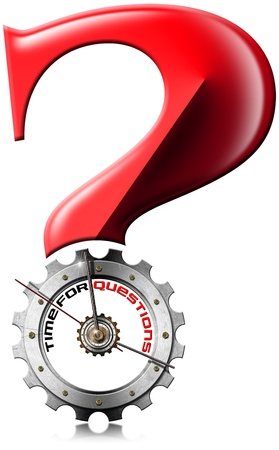 Red question mark with metal clock gear-shaped with written time for questions on a white background photo