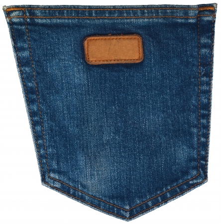 Blue jeans fabric with back pocket and a leather label on white background photo