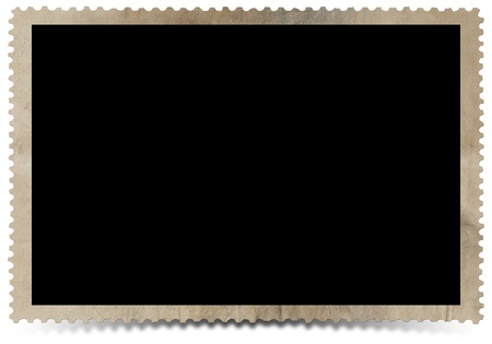 photo gallery: Aged photo frame on white background with shadow Stock Photo