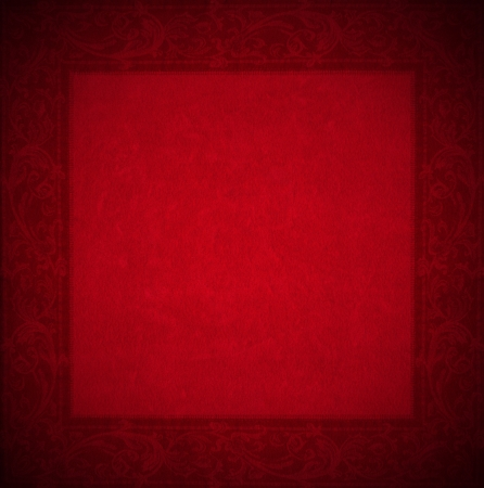 velvet texture: Closeup dettaglio di et� compresa velluto rosso texture di sfondo con cornice floreale Archivio Fotografico