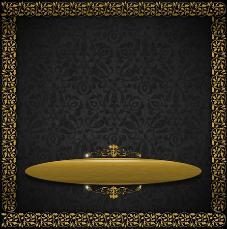 Template of aged gray velvet and texture with ornate floral seamless and golden plaque Stock Photo - 20824350