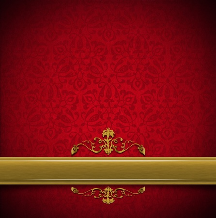 Template of aged red velvet and texture with ornate floral seamless and golden plaque Stock Photo - 20824427