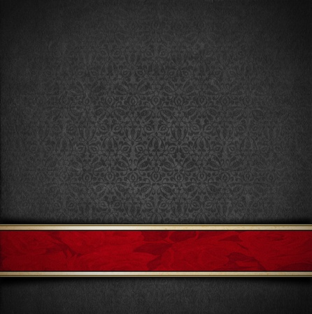 Template of gray velvet and texture with ornate floral seamless and red plaque photo