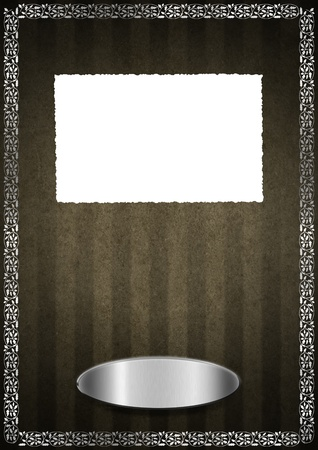 Template of aged brown velvet and texture with ornate floral seamless and silver plaque Stock Photo - 20962412