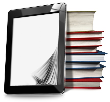 Black tablet computer with blank pages and stack of books on white background photo