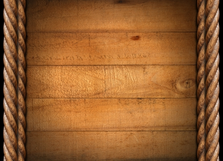 western wall: Five wooden damaged boards with wooden ropes on a black background