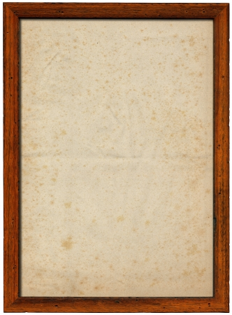 pitted: Rectangular empty old wooden frame with spotted paper isolated on white background