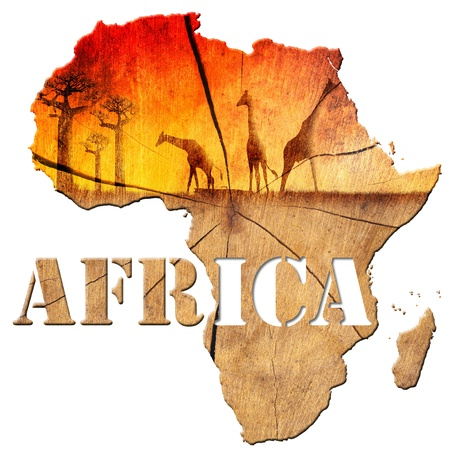 Africa map with wood texture and colorful landscape of fantasy, with baobab trees and giraffes Foto de archivo