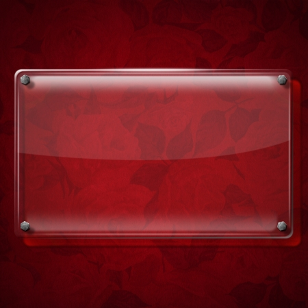 Glass or framework on red velvet background with roses flowers   Stock Photo - 20962441