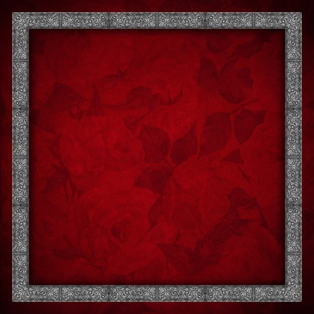 Red velvet texture background with roses flowers and silver floral frame Stock Photo - 20962440