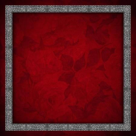velvet texture: Texture di sfondo di velluto rosso con fiori e rose d'argento cornice floreale Archivio Fotografico