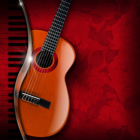 Acoustic brown guitar and piano against a red floral background