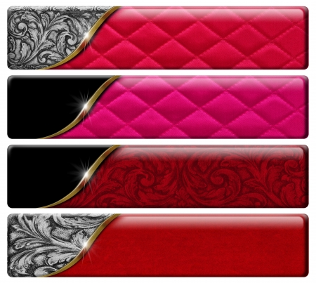 Set of four luxury banners or headers with floral texture and clipping path