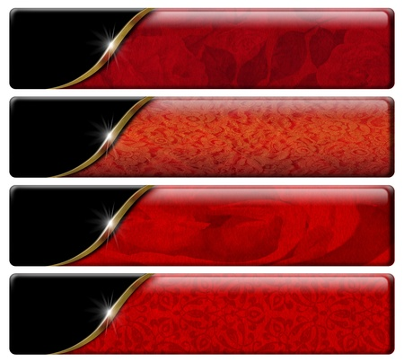Set of four luxury banners or headers with red floral texture and clipping path photo