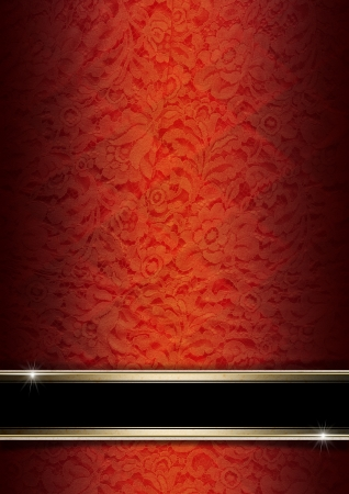 Template of red and orange texture with ornate floral seamless and black plaque with golden frame Stock Photo - 21064934