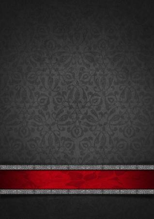 灰色のビロードとシルバーのフレームで華やかな花柄シームレスで赤いプラクとテクスチャのテンプレート