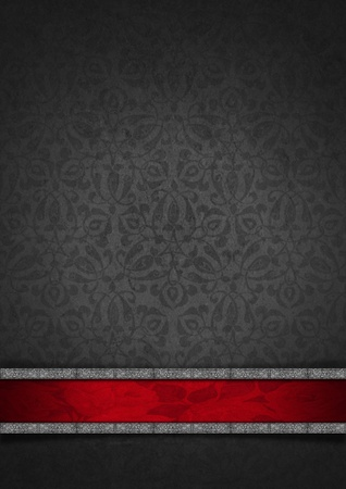 Template of gray velvet and texture with ornate floral seamless and red plaque with silver frame Archivio Fotografico