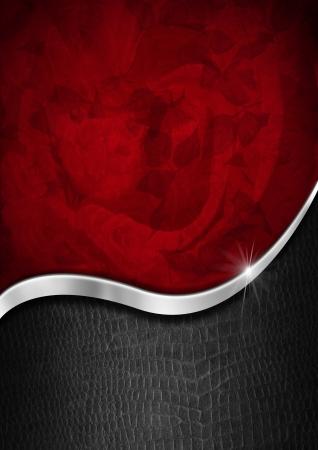 赤でテクスチャーを華やかなフローラル シームレス金属波と黒の背景で