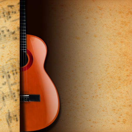 Acoustic brown guitar with yellow and brown stained paper and musical notes blurred Stock Photo - 21064939