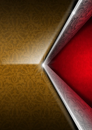 Brown floral texture with two diagonal silver floral bands and red velvet background Stock Photo - 21064952