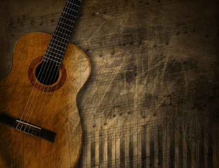 Acoustic brown guitar against a grunge brown background Stock Photo - 21995978