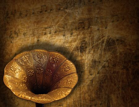 Aged horn gramophone on a grunge brown background Stock Photo - 21995992