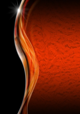 filigree swirl: Orange texture with ornate floral seamless with metal wave and black background Stock Photo