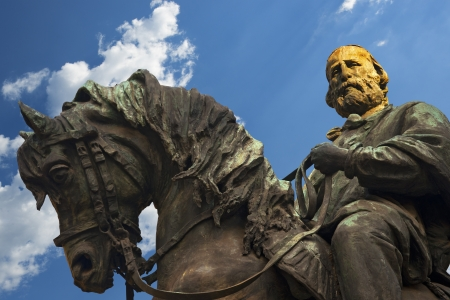 Giuseppe Garibaldi on horseback - bronze statue in Verona Italy
