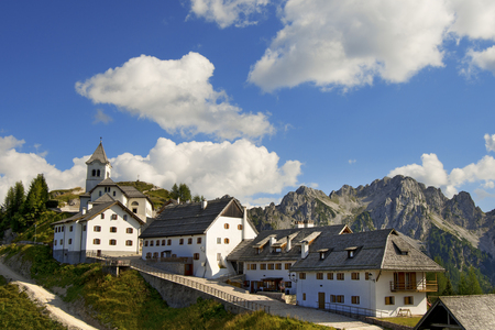 Small mountain village in the Julian Alps - Lussari - Friuli Italy photo