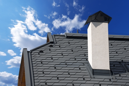 Detail of modern metallic roof with snow guards on blue sky Standard-Bild