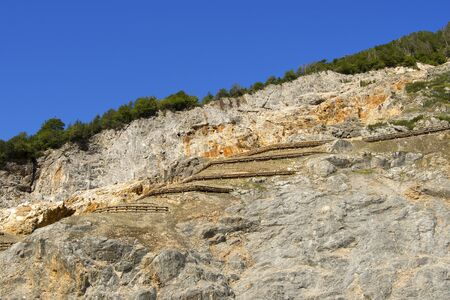 cast in place: Lead and zinc mine, outdoor area with blue sky - Predil Mine in Friuli Italy Stock Photo