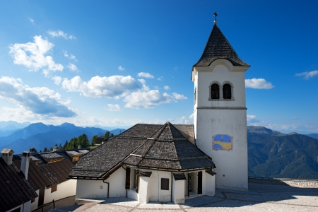 Ancient sanctuary of Monte Lussari a place of pilgrimage on the Julian Alps, Italy photo