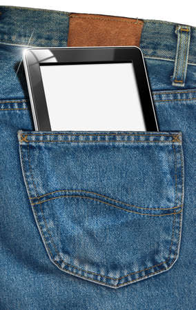 pocket pc: Blue jeans fabric with black tablet computer with blank pages in pocket