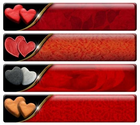 Set van vier romantische banners met hartjes, rode bloemen textuur