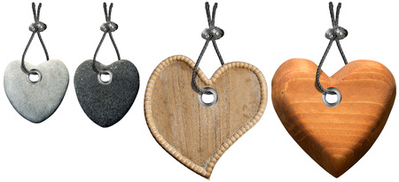 Four hearts of stone and wood with steel cable isolated  photo