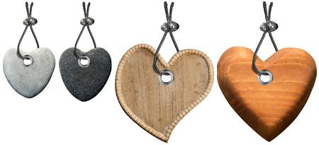 Vier harten van steen en hout met stalen kabel geïsoleerde