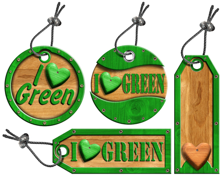 Four wooden tags - Written I Love Green with steel cable and metal rivets  photo