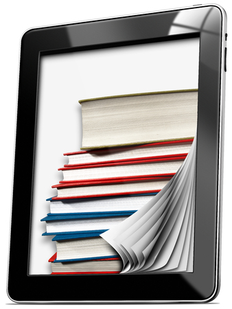 Black tablet computer with pages and stack of books - isolated on white