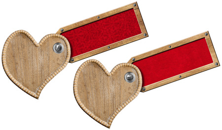 Two Handmade wooden hearts with wood label with red velvet interior  photo