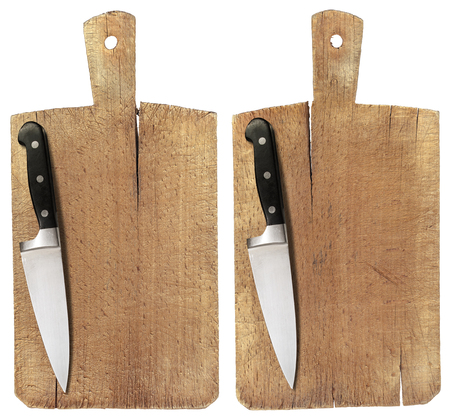 Used chopping or cutting board isolated on withe and kitchen knife