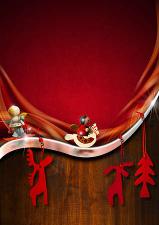 Background with red velvet, metal strip and brown wood with Christmas objects photo