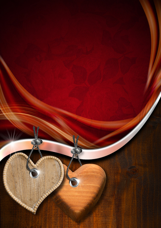 Red texture with ornate floral seamless with two wooden hearts hanging on wooden background photo